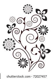 Floral swirl design element. Raster version.Vector version is in my gallery.