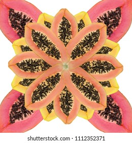 floral symbol made of halved papaya fruits, isolated on white background. square format for seamless designs
