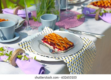 Floral table setting for dinner outdoor
