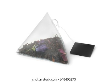 Floral  tea bag isolated on white