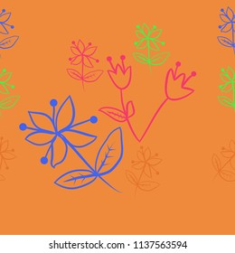 Floral theme, branches, doodles  seamless  pattern. Hand drawn.