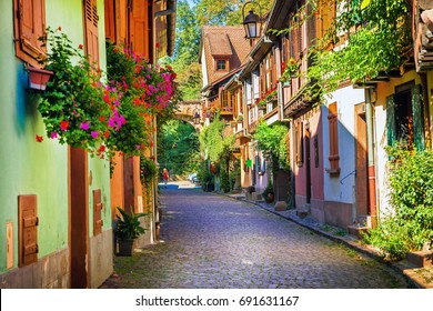 Floral traditional town Colmar with charming old streets in Alsace region of France