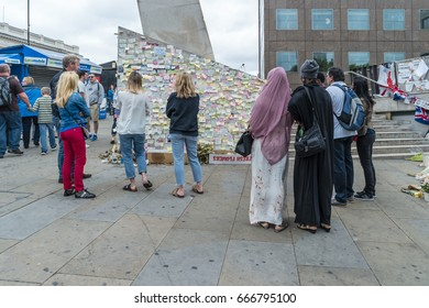 Floral tributes laid at the site of the London bridge a reminder of the london bridge attack, London Bridge London UK 25 June 2017