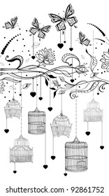 Floral Valentine background with cages, illustration