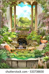 Floral vintage arch with a gazebo, a flamingo pond and cherry. Waterfall and blooming garden. Romantic mood.