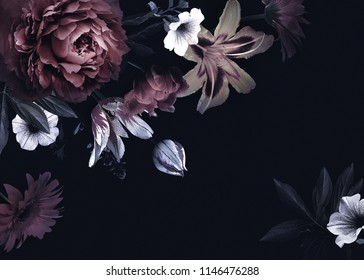 Floral vintage card with flowers. Peonies, tulips, lily, hydrangea on black background.  Template for design of wedding invitations, holiday greetings, business card, decoration packaging - Shutterstock ID 1146476288
