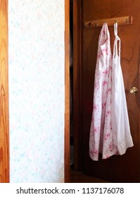 Floral Vintage Country Aprons Hanging on Door