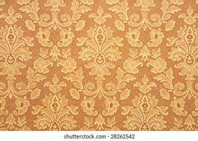 Floral Vintage Wallpaper Background Old Yellowed Orange Color