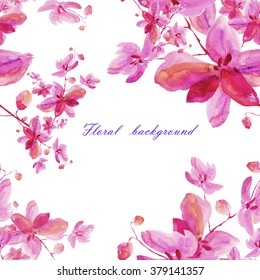 Floral watercolor background blooming orchids
