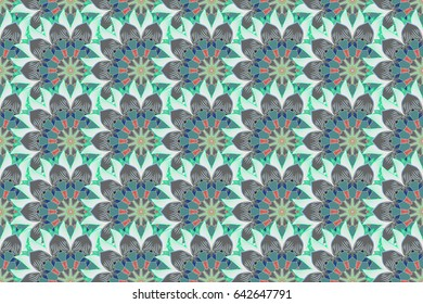 Floral watercolor seamless background. Raster textile print for bed linen, jacket, package design, fabric and fashion concepts. Seamless pattern with blue flowers.