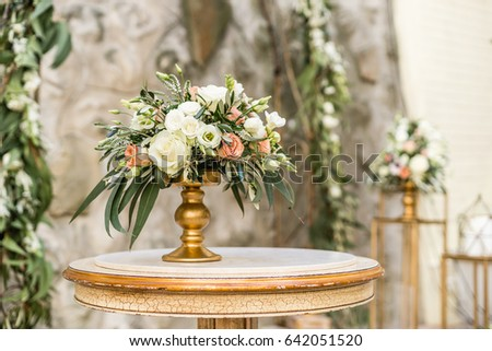 Floral Wedding Decoration Vintage Table Stock Photo Edit Now