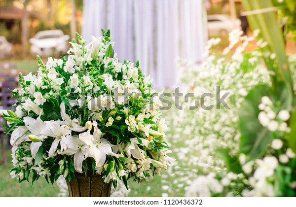 Floral Wedding Entrance Vase Detail Flowers Stock Image