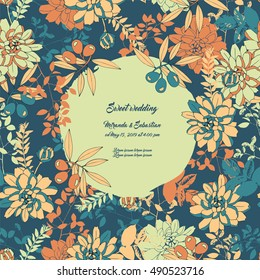 Floral wedding invitation with flowers and olives.