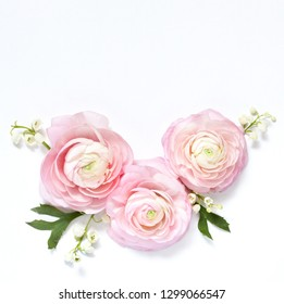Floral wreath frame on a light background. Pink pink, lily of the valley and jasmine. square format