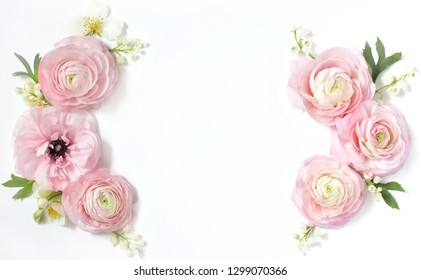 Floral wreath frame on a light background. Pink pink, lily of the valley and jasmine.