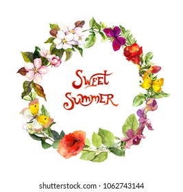 """Floral wreath with meadow flowers, wild grass and butterflies. Watercolor circle border with text """"Sweet summer"""""""