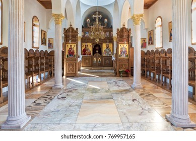 Florance, AZ, USA 0 November 26, 2017: interior of one of churches at Saint Anthony's Greek Orthodox Monastery. It was established In 1995 by six monks.