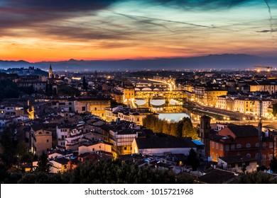 Florance Ponte Vecchio Bridge View from Bardini