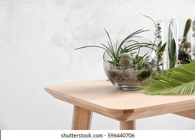 Florarium in glass vase with succulents on wooden table