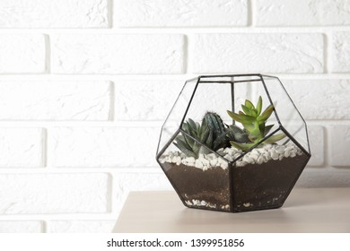 Florarium with succulent plants on table near brick wall, space for text. Home decor