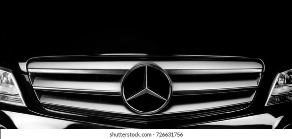 FLOREAL, MAURITIUS - JANUARY 04, 2017 - Dark Mercedes Benz car logo on a chrome Mercedes Benz grill.