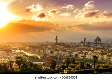Florence at a beautiful sunset from Piazzale Michelangelo (Tuscany, Italy)