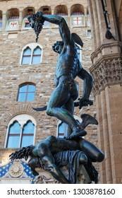 Florence bronze statue of The Perseus with the head of Medusa by Benvenuto Cellini in Loggia dei Lanzi on Piazza della Signoria, Florence, Italy. Firenze landmarks