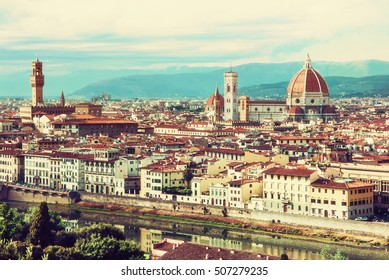 Florence is the capital city of the Italian region of Tuscany and of the province of Florence. Beautiful historic urban landscape. Retro yellow photo filter.