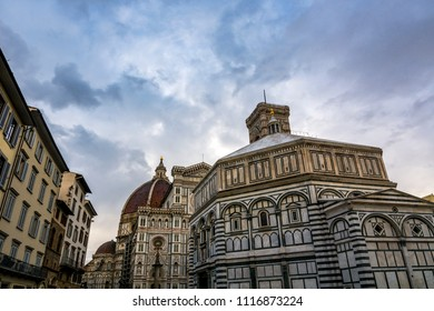 Florence cathedral and dome at dusk in Tuscany