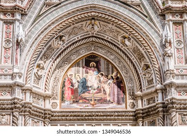 Florence Cathedral Facade Jesus Mosaic Duomo Cathedral Florence, Tuscany, Italy
