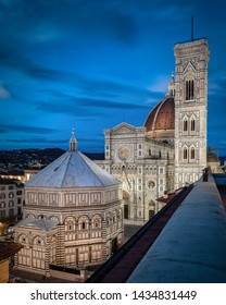 Florence Cathedral, formally the Cattedrale di Santa Maria del Fiore (in Italian)on  cathedral complex, in Piazza del Duomo, includes the Baptistery and Giotto's Campanile in sunset time.