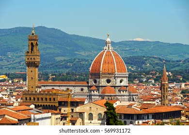 Florence: Cathedral of Santa Maria del Fiore, Palazzo Vecchio and from the observation deck of the Boboli gardens. Tuscany, Italy