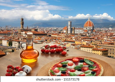 Florence with Cathedral and typical Italian pizza in Tuscany,  Italy