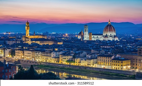Florence city skyline at night, Florence, Italy