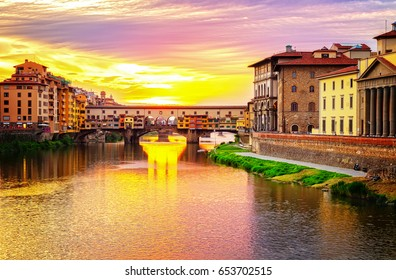 Florence cityscape, famous bridge Ponte Vecchio over Arno river at sunset in  Florence, Italy, retro toned