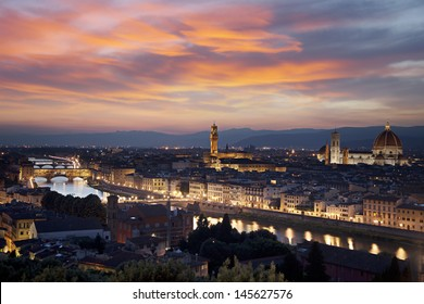Florence cityscape at night from Michelangelo Hill, Italy