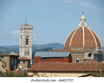 Florence - the Dignified Duomo dome and Campanila above roofs of the city