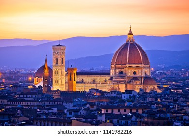 Florence Duomo aerial sunset view, Tuscany region of ITaly