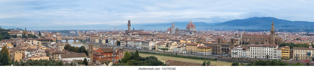 Florence duomo landmark cathedral building city in Italy with Panoramic photograph.