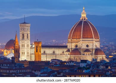 Florence Duomo Santa Maria del Fiore at sunset with illumination.