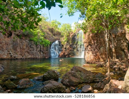 Florence Falls a 2 hours drive south west of Darwin is a wonderful and popular place locals and holiday makers alike to go for a swim, Litchfield National Park, Northern Territory,  Australia.