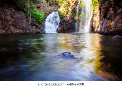 Florence falls swimming holes are among the most popular tourist attractions of Litchfield National Park in Australia's Northern Territory.