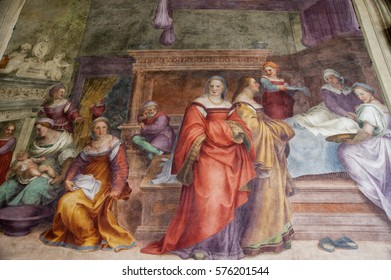 FLORENCE- February 8:Nativity of the Virgin, masterpiece of Andrea del Sarto in the Cloister of the Vows, Basilica Of Santissima Annunziata (detail). Picture taken on February 8,2016