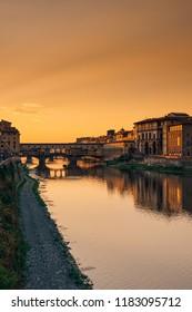Florence Firenze cityscape from hights and soft sunset lights Santa Maria del Fiore, Palazzo Veccio, Ponte Veccio