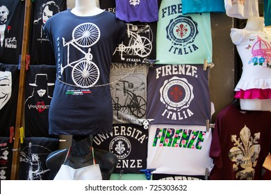 FLORENCE (FIRENZE) JULY 28, 2017 - T- Shirt on sale at the market in the city of Florence (Firenze), Tuscany, Italy.