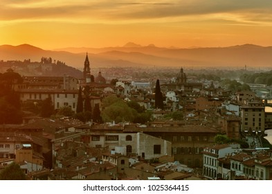 Florence or Firenze sunset aerial cityscape.