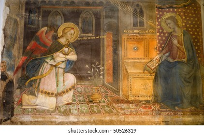 Florence - fresco of Annunciation from chruch  San Miniato al Monte