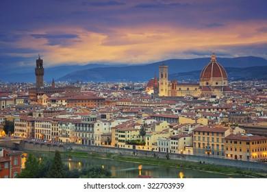 Florence. Image of Florence, Italy during dramatic twilight.
