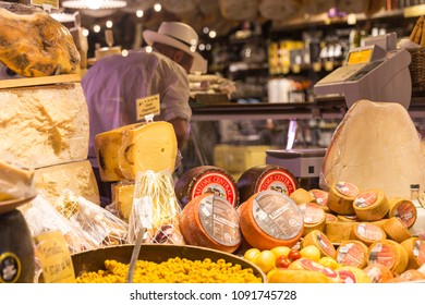 FLORENCE, ITALY 01 MAY, 2018:  Italian Cheese for Sale in a Shop in Florence Italy