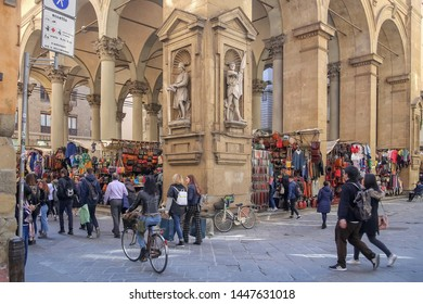 Florence, Italy, 03.26.2018. Loggia del Mercato Nuovo or the new market, arcade with wide arches in Renaissance style in the center of Florence